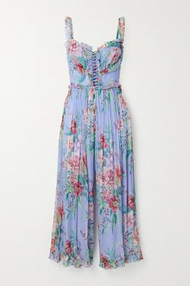 Zimmermann Bellitude Cutout Ruffled Floral-print Silk-crepon Jumpsuit - Light blue