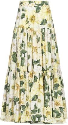 Dolce & Gabbana Camellia Printed Maxi Skirt