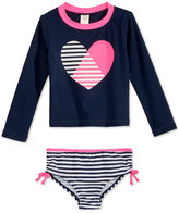 Osh Kosh 2-Pc. Heart & Stripes Rashguard Swimsuit, Toddler & Little Girls (2T-6X)