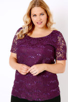 Yours Clothing Purple Lace Top With Sequin Sparkle Detail