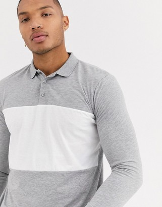 Asos Design DESIGN polo shirt with contrast body panel in gray marl