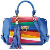 Salvatore Ferragamo Sofia Small Striped Top-Handle Bag, Blue Denim