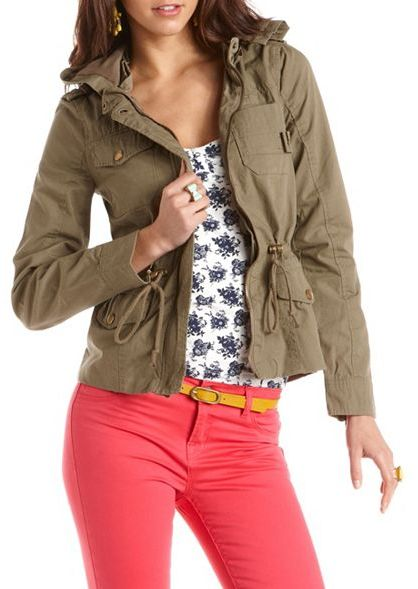 Charlotte Russe Hooded Canvas Anorak Jacket