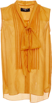 Paule Ka Saffron Sleeveless Blouse with Pleat front and Tie Detail