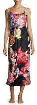 Natori Mikado Floral-Print Satin Gown, Black