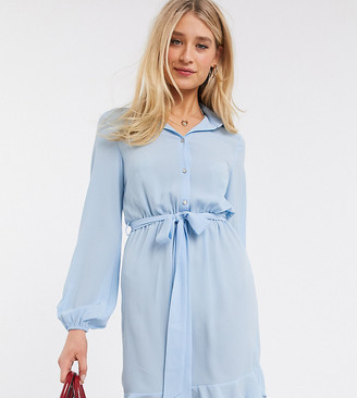 Outrageous Fortune Tall shirt dress with frilly hem in blue