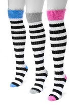 Muk Luks Pointelle Stripe Knee High Socks - Pack of 3