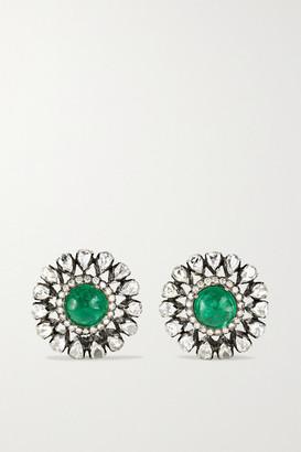 Amrapali Sterling Silver-plated 18-karat Gold, Beryl And Diamond Earrings