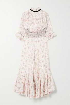 Lug Von Siga Gabriella Ruffled Shirred Floral-print Cupro Midi Dress