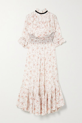 Lug Von Siga Gabriella Ruffled Shirred Floral-print Cupro Midi Dress - White