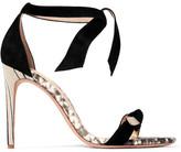 Alexandre Birman Bow-embellished Python-trimmed Suede Sandals - Black