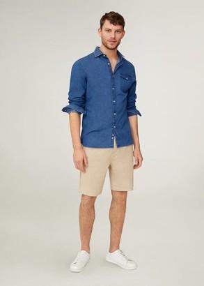 MANGO MAN - Elastic waist linen Bermuda shorts beige - 28 - Men