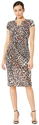 Maggy London Animal Print Texture Sheath Dress (Bone/Brass) Women's Dress