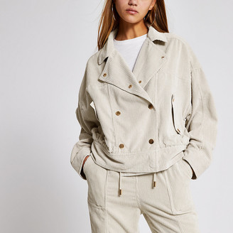 River Island Cream corduroy button front oversized jacket
