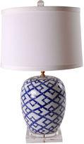 Avala Bamboo Mellon Jar Lamp, Blue/White