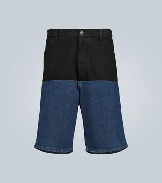 Raf Simons Paneled wide-leg denim shorts
