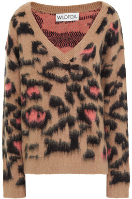 Wildfox Couture Brushed Leopard-print Jacquard-knit Sweater