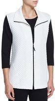 Caroline Rose Diamond-Quilted Zip-Front Vest, White, Plus Size