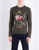 Ralph Lauren Purple Label Round-neck Embroidered Floral Detail Cashmere Jumper