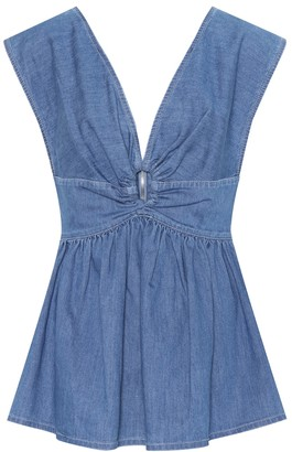 Stella McCartney Flared denim keyhole top