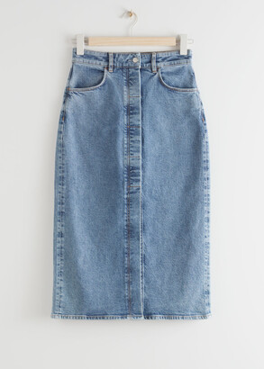 And other stories Fitted Denim Midi Skirt