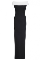 Quiz Black And Cream Bardot Maxi Dress