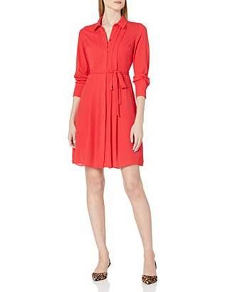 Nanette Lepore Nanette Women's Long Sleeve Wide Body Pleat Collar Shirt Dress with Belt Sash