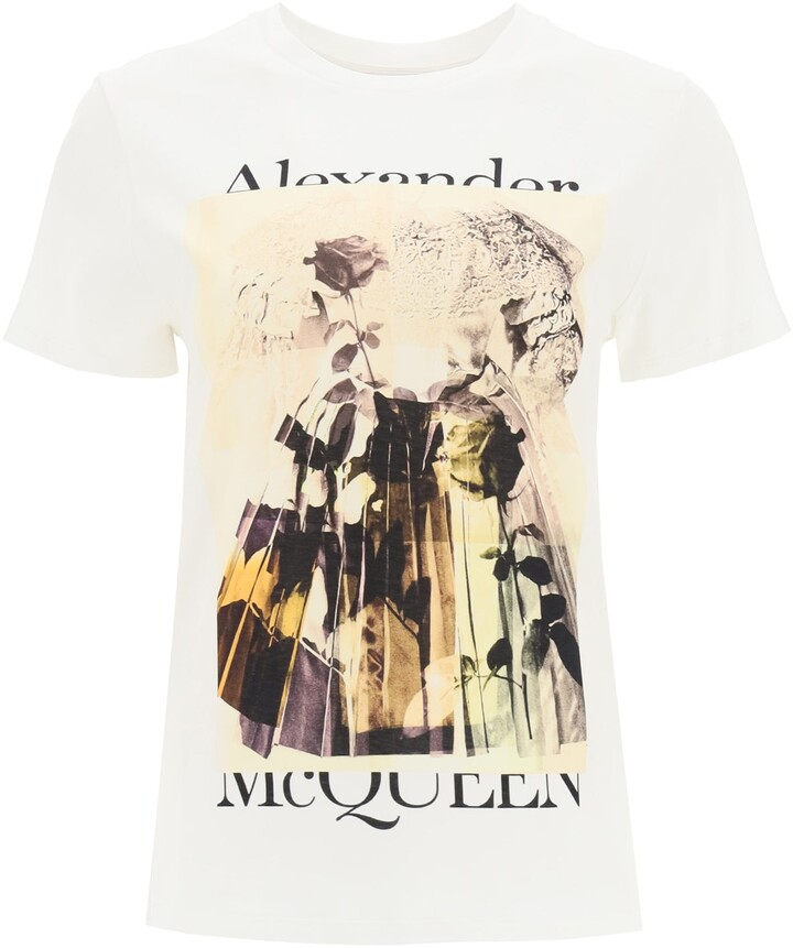 Thumbnail for your product : Alexander McQueen TROMPE L'OEIL PRINT T-SHIRT 40 White, Black Cotton