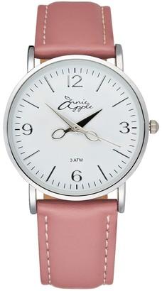 Bermuda Watch Company Annie Apple Alore Silver/White/Pink Leather Hairdresser Scissor Hands Wrist Watch