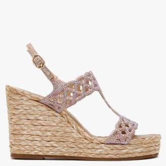 Alma En Pena Polis Bronze Diamante Embellished Wedge Sandals