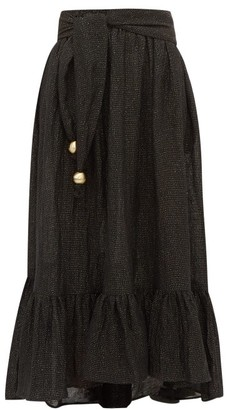 Lisa Marie Fernandez Nicole Dipped Hem Linen Blend Maxi Skirt - Womens - Black