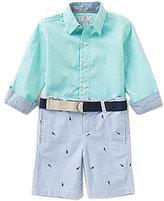 Class Club Little Boys 2T-7 Button-Front Shirt & Striped Shorts Set
