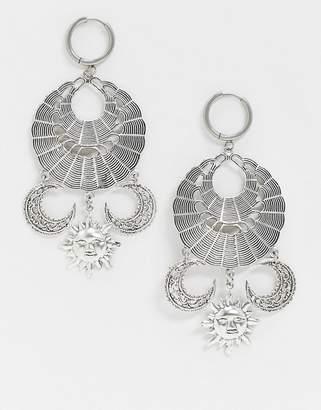 Moon Dream Regal Rose silver plated sun & catcher statement earrings