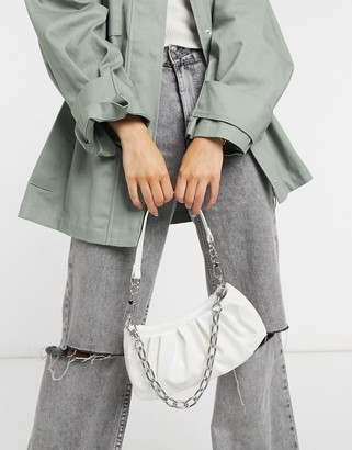 ASOS DESIGN ruched slouchy shoulder bag with detachable chain strap in white snake