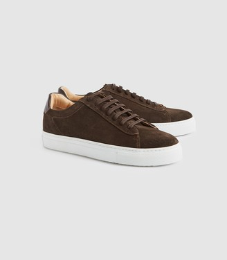 Reiss FINLEY SUEDE SUEDE CONTRAST SOLE TRAINERS Chocolate