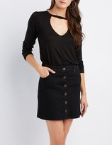 Charlotte Russe Mock Neck Cut-Out Top