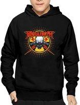 RHISRO Men's Megadeth Skull & Bullets Sticker Hooded Sweatshirt Fitted