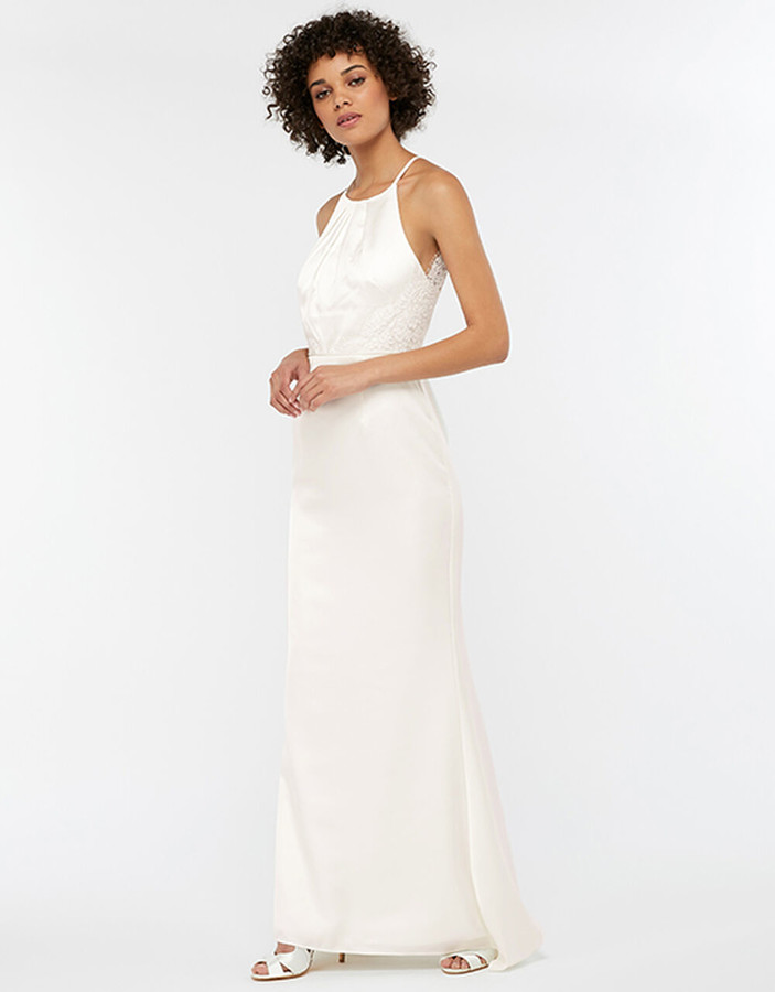 Under Armour Anne Lace Back Satin Maxi Wedding Dress Ivory