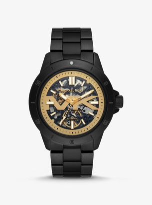 Michael Kors Bayville Black-Tone and Silicone Skeleton Watch