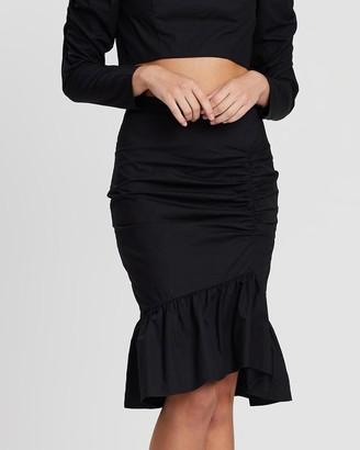Atmos & Here Mia Ruched Midi Skirt