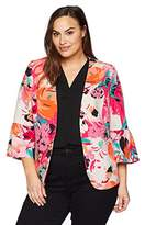 Nine West Women's Plus Printed Crepe Floral JKT With Ruffle Sleeve