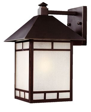 Erving Rustic 1-Light Glass Shade Outdoor Wall Lantern Loon Peak Finish: Architectural Bronze