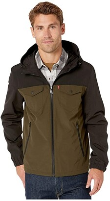 Levi's Two-Pocket Shortie Rain Hoodie (Olive/Black) Men's Coat