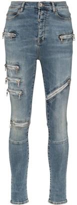 Unravel Project Moonwash multi-zip skinny jeans