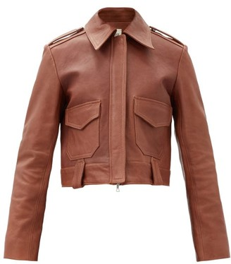 KHAITE Cordelia Patch-pocket Cropped Leather Jacket - Mid Brown