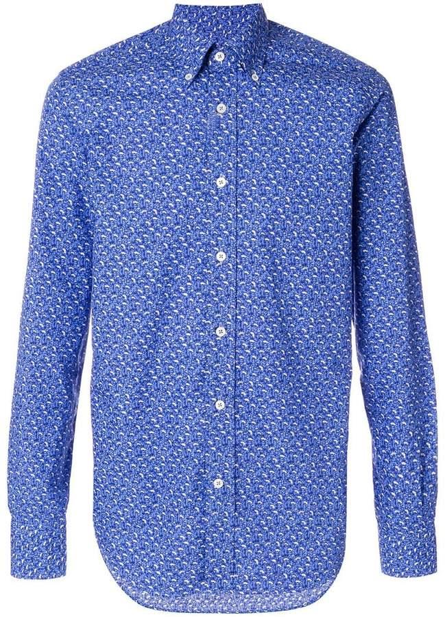 Canali leaves-print formal shirt