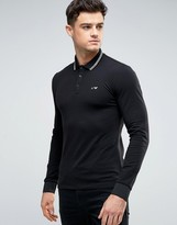 Armani Jeans Polo Shirt With Tipping In Black Slim Stretch Fit Long Sleeves