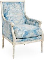 Massoud Furniture James Accent Chair, Blue Floral