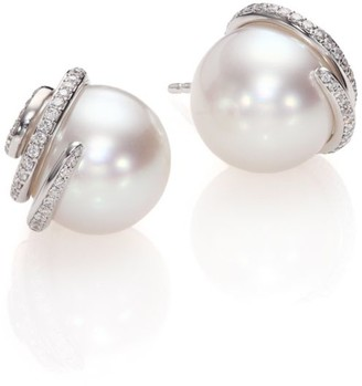Mikimoto Twist 11MM White Cultured South Sea Pearl, Diamond & 18K White Gold Stud Earrings