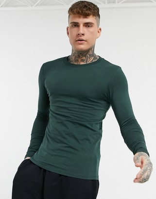 ASOS DESIGN long sleeve muscle fit t-shirt in dark green
